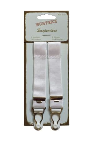 NSS/7 Suspenders: Slip On - Adjustable - White