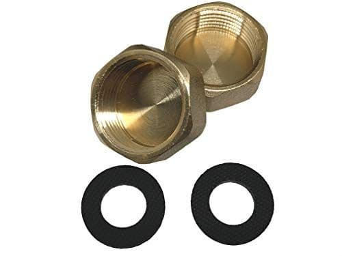 "Handyfix Compression Washing Machine 3/4"" Brass Blanking Nut Cap With washers - Pack of 2"