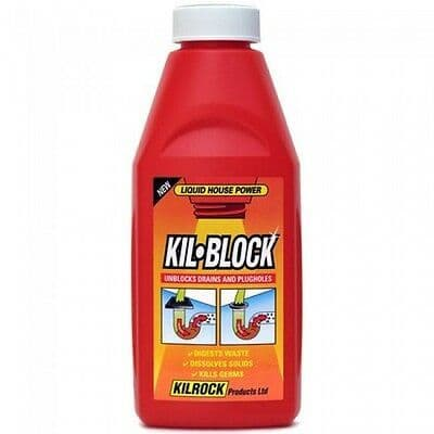 Kilrock Original Kil-Block Drain Cleaner 500ML Plugholes Drain Unblocker Home