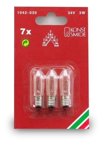 Konstsmide Official Spares Welcome Light Bulbs, 34 V, 3 W - Pack of 3
