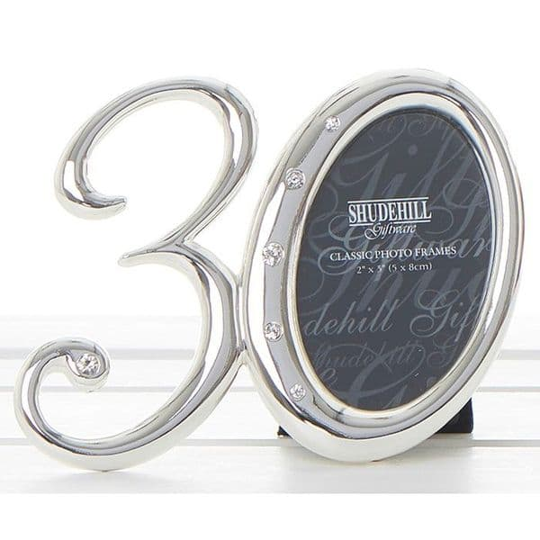 30th Birthday Silver Number Photo Frame