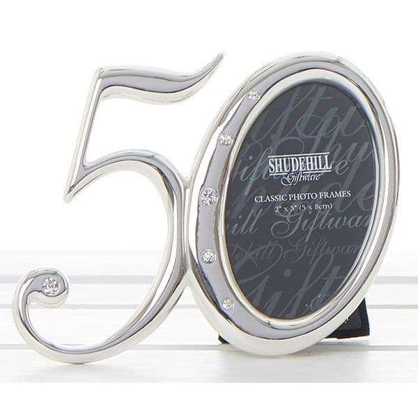 50th Birthday Silver Number Photo Frame