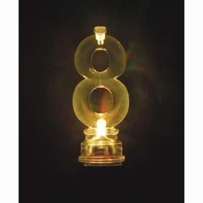 Number 8 Flashing Candle Holder, With 4 Candles