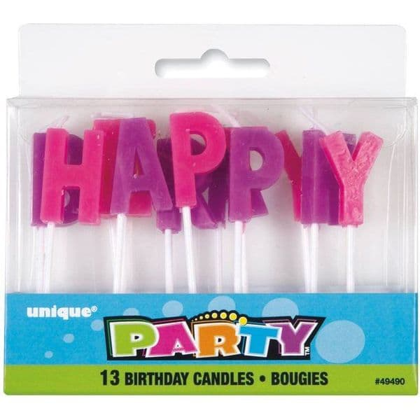 Happy Birthday Letter Pink and Purple Candles