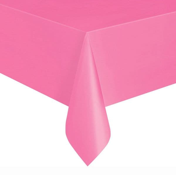 Hot Pink Rectangular Plastic Table Cover