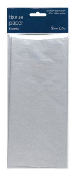 Metallic Silver Tissue Paper 5 Sheets