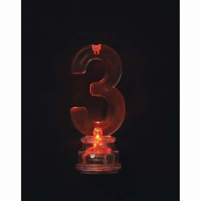 Number 3 Flashing Candle Holder, With 4 Candles