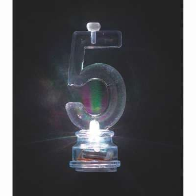 Number 5 Flashing Candle Holder, With 4 Candles