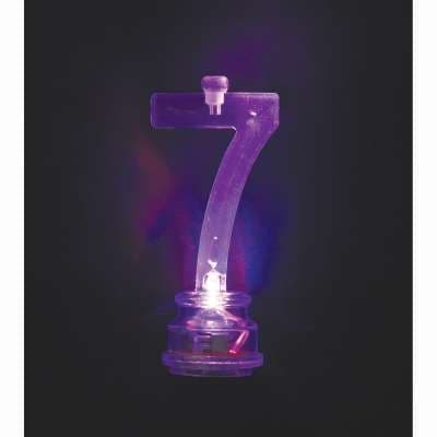 Number 7 Flashing Candle Holder, With 4 Candles