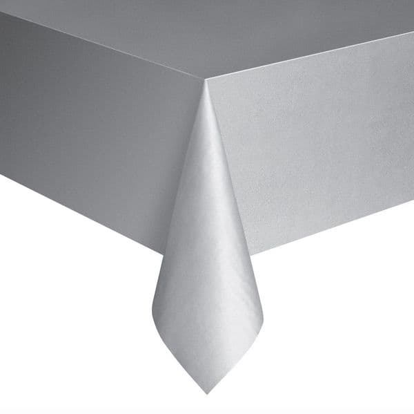 Silver Rectangular Plastic Table Cover