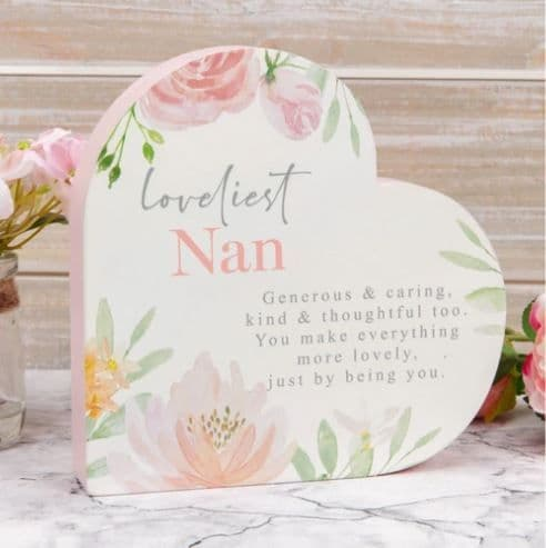 Sophia Wooden Heart Mantel Plaque - Loveliest Nan