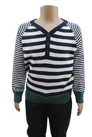 Wholesale Boys Knitwear - Wholesale Ex High St Boys Y Neck Jumper Sweater Navy White Stripes - Boys Wholesale Clothing