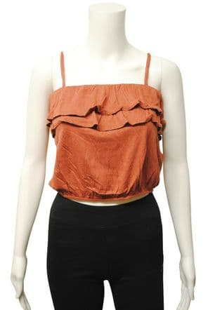 Wholesale Womens Tops & T-Shirts - Wholesale Womens Ex Chainstore Camisole Crop Ruffle Top Terracotta - Womens Wholesale Clothing - iFashionWholesale.com - Specialist in Ex Chainstore Wholesale Clothing.