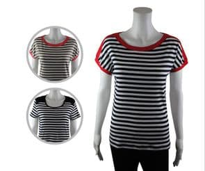 Wholesale Womens Tops & T-Shirts - Wholesale Womens Ex Chainstore T-Shirt Top Jersey Multi Stripes - Womens Wholesale Clothing - iFashionWholesale.com - Specialist in Ex Chainstore Wholesale Clothing.