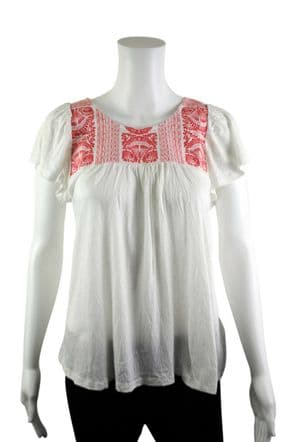 Wholesale Womens Tops & T-Shirts - Wholesale Womens Ex Chainstore Top Red Floral Embroidery White - Womens Wholesale Clothing - iFashionWholesale.com - Specialist in Ex Chainstore Wholesale Clothing.