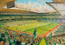 Hand Painted original of celtic park on matchday