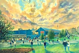 Hand Painted original of dens park going to the match