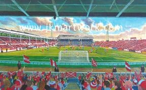 Hand Painted original of pittodrie yesteryear