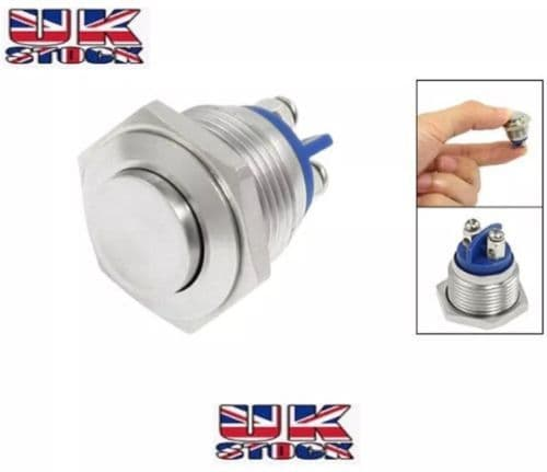 16mm Waterproof Stainless Steel Push Button Momentary ON/OFF Horn Switch Silver