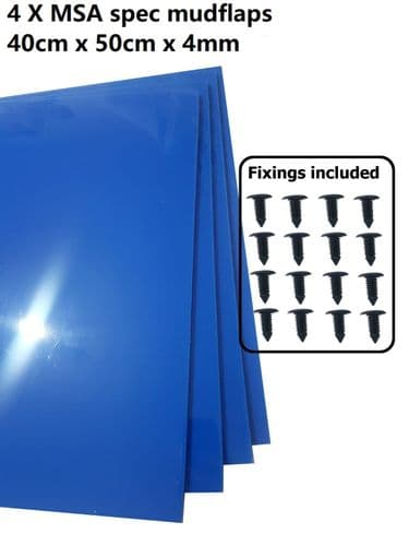 Blue Rally Motorsport Mud Flaps 50cm x 40cm 4mm MSA spec x4 - With Fittings