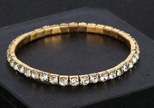 Gold Crystal Zircon Bracelet Single Row Rhinestones Adjustable Elastic Jewellery
