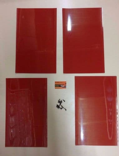 RALLY MUDFLAPS RED 3MM MSA WITH FITTINGS