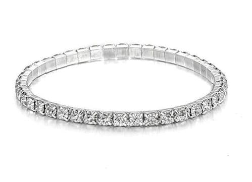 Silver Crystal Zircon Bracelet Single Row Rhinestones Adjustable Elastic Jewel