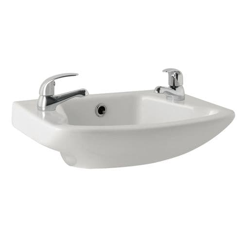 Dalton 465mm  Ceramic Wall Hung Cloakroom Basin -1 or 2 Tap Hole Options Available