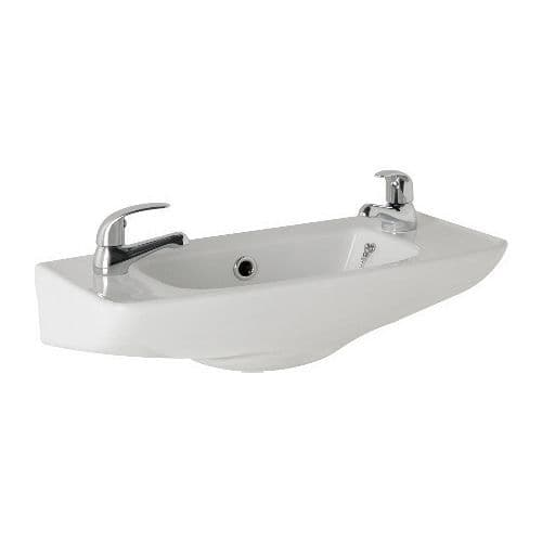 Dalton 510mm  Ceramic Wall Hung Cloakroom Basin -1 or 2 Tap Hole Options Available