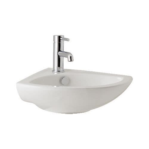 Dalton 515mm Ceramic Cloakroom Wall Hung Corner Basin -1 or 2 Tap Hole Options
