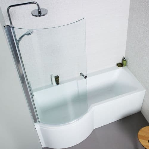 Adapt P Shape Shower Bath Complet with Screen & Front Panel - 1500mm or 1700mm-  L or R Hand