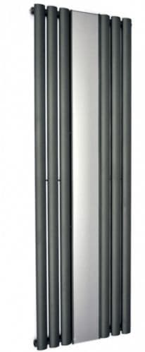 Reflex 1800 x 500mm Oval Bar Vertical Single Radiator with Mirror - 3 COLOURS AVAILABLE