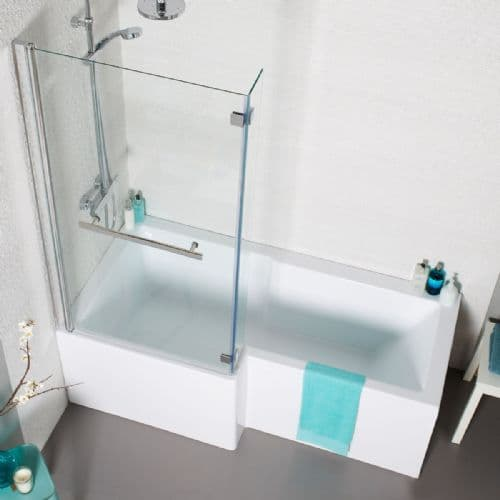 Tetris  L Shape  Shower Bath Complete with Screen & Front Panel - Sizes 1500 /1700 & NEW 1800mm