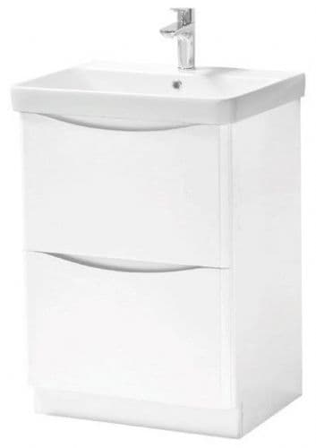 Cayo Matt White Floor Standing 2 Drawer Vanity Unit with Basin - 2 SIZES AVAILABLE