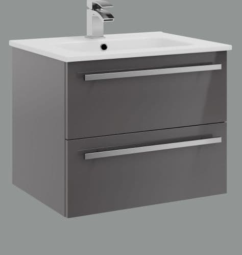 Purity Storm Grey Gloss  Wall Hung 2 Drawer Vanity Unit with Ceramic Basin