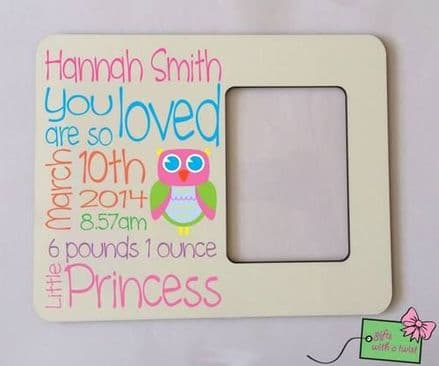 Baby birth details photo frame