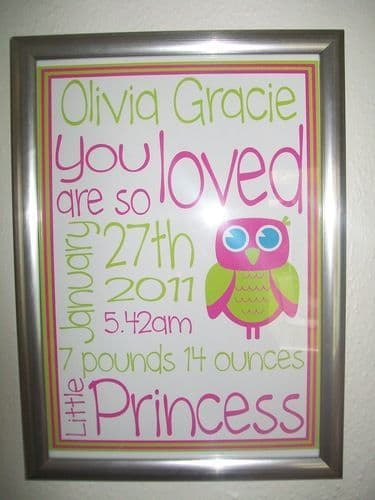 Baby birth details print with frame