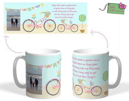 Bicycle and bunting themed mug