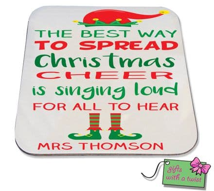Christmas Elf quote coaster