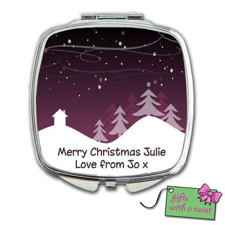 Christmas purple snow scene mirror