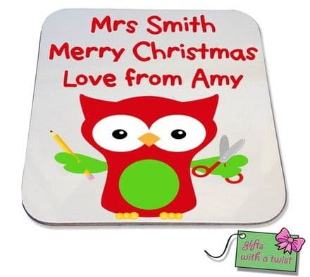 Christmas teacher owl coaster
