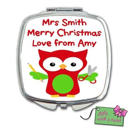 Christmas teacher owl mirror