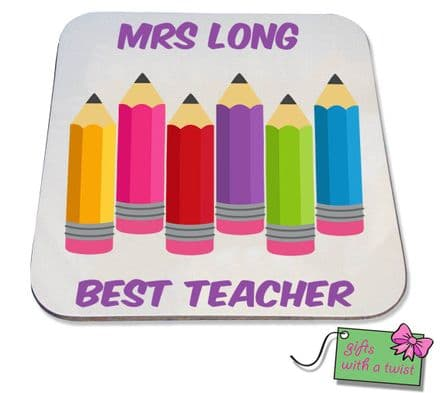 Coloured pencils best teacher coaster