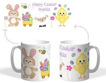 Easter mug chick juggling eggs