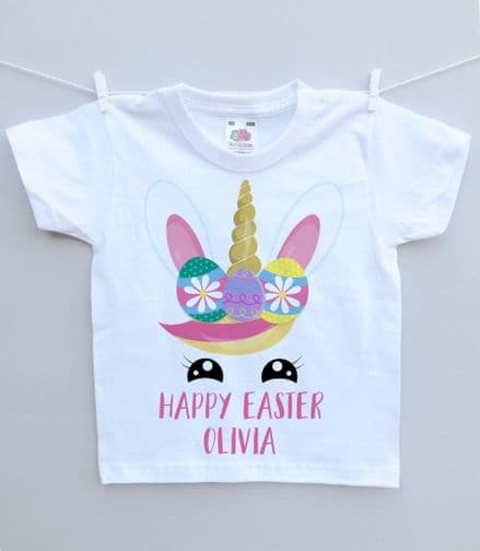 Easter unicorn face t-shirt