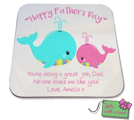 Fathers Day whale coaster