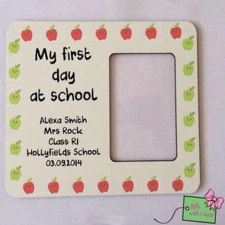 First day at school apple border photo frame