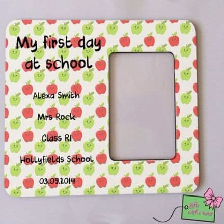 First day at school apples photo frame