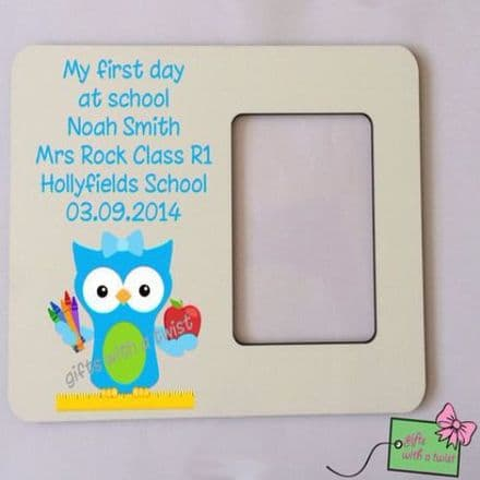 First day at school blue owl photo frame