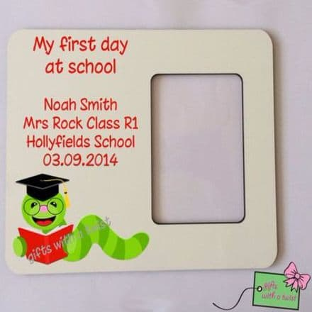 First day at school bookworm photo frame